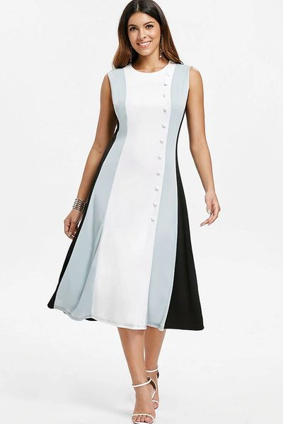 A Line Color Block Dress with Accent Buttons