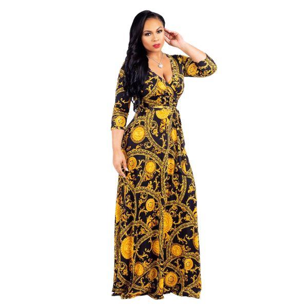 V Cut Designer Fabric Long Maxi Dress