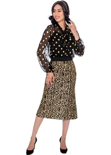Dorinda Clark-Cole Rose Collection Puff Sleeve Black with Gold Dots Blouse