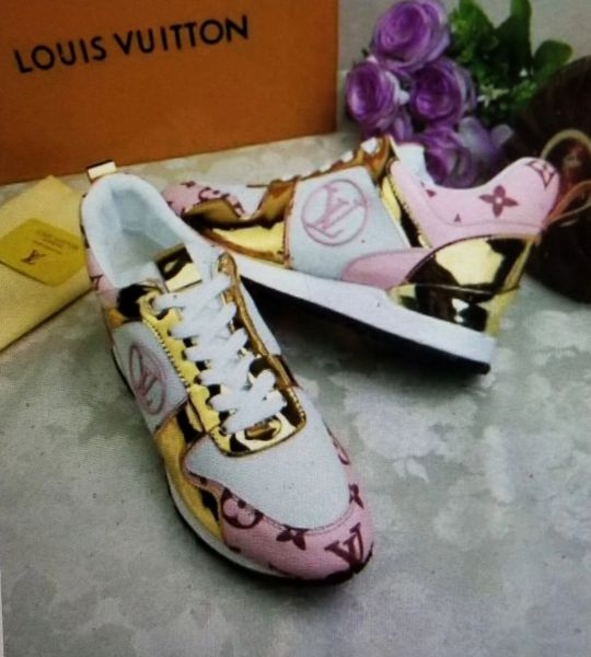 Pre-Orders Louis Vuitton Metallic Gold Pink Tennis Sport Shoes