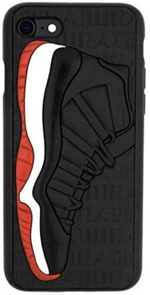Black and Red 3D Jordan Texture Sneaker Shockproof Protective Phone Case For iPhone Series