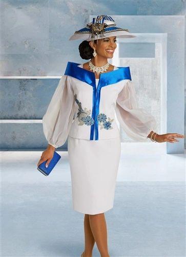 Donna Vinci Ladies Chiffon Puff Sleeve Suit