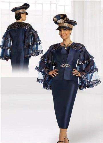 Donna Vinci 3 Pc SheerEmbellish Sleeves Suit