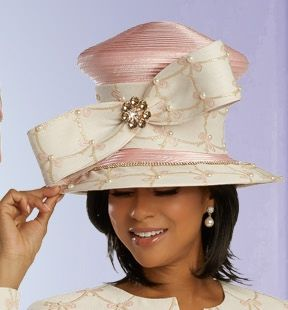 Donna Vinci Ivory/Pink Bow Hat