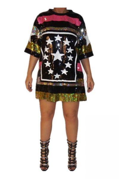Plus Size Sequin Tunic Stripe Star Top