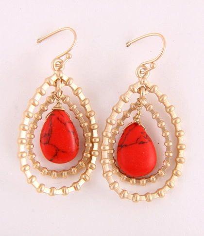 Bloodstone Red Turquoise Pierced Earrings