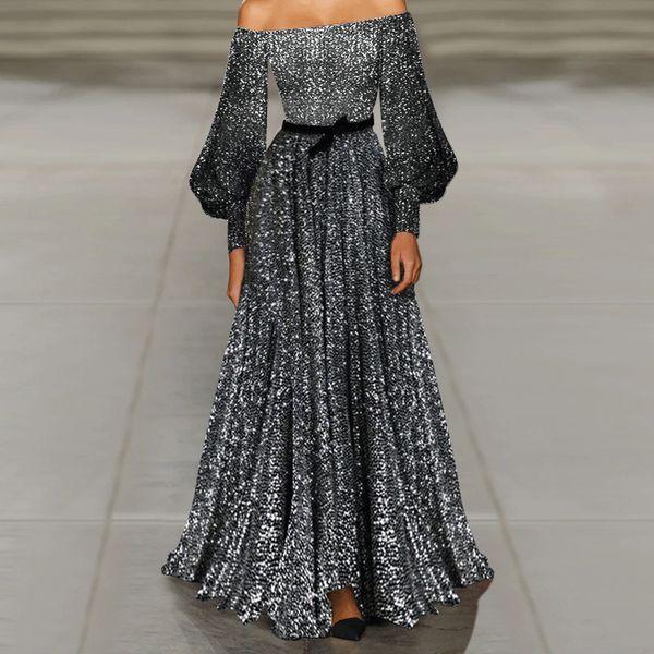 Slimmer Off Shoulder Long Gown Dress