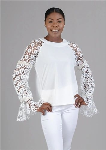 By Nancy Lace Sleeve Circle Neckline Top Blouse