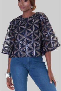 For Her Sequin Wide Sleeve Blouse Top