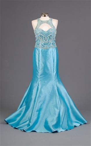 Embellished Beaded Mermaid Gown Dress