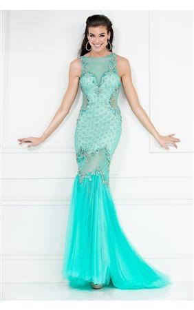 Chiffon embellished Tulle Illusion Mermaid Prom Girl Dress