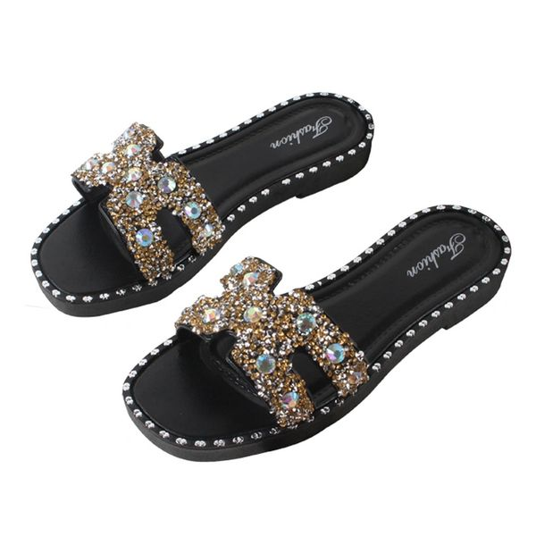Sequin Jeweled Slides Shoes