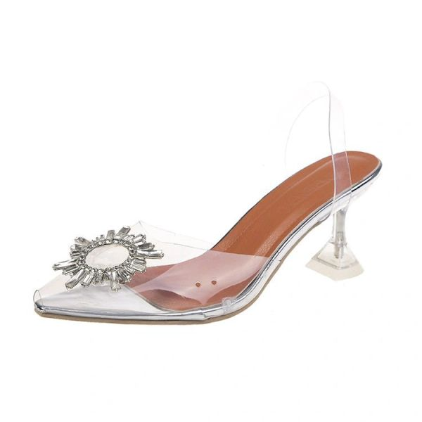 Crystal Clear Medallion Low Heel Shoes