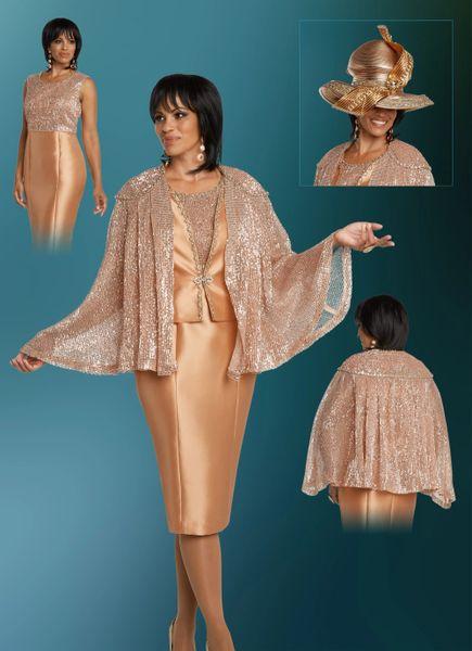 Elegance Shimmer Rose Gold Cape Jacket 3 pc Suit