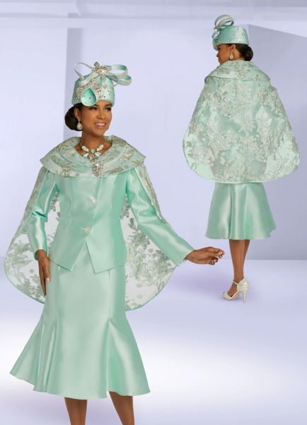 Fine Lady Designer Suits with lace cape
