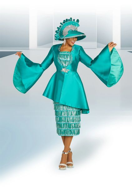 Assymetrical Bell Sleeve 3 pc Suit