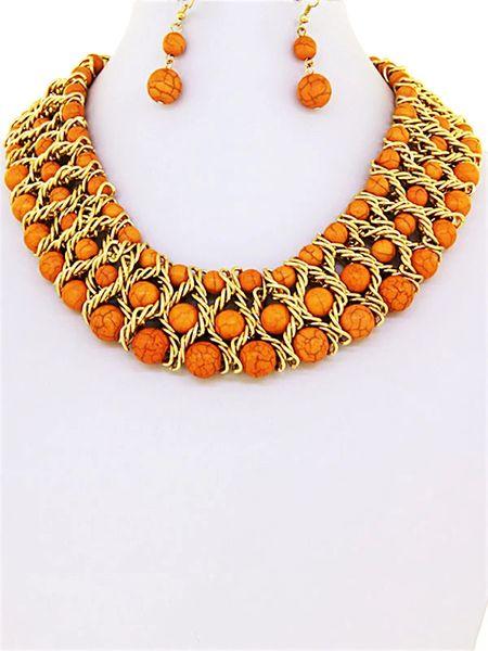 DL273611 Blood Stone Choker Necklace Set