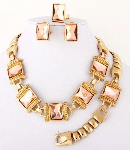 91109024 Pink 4 pc Necklace, Bracelet, Earrings & Ring Set