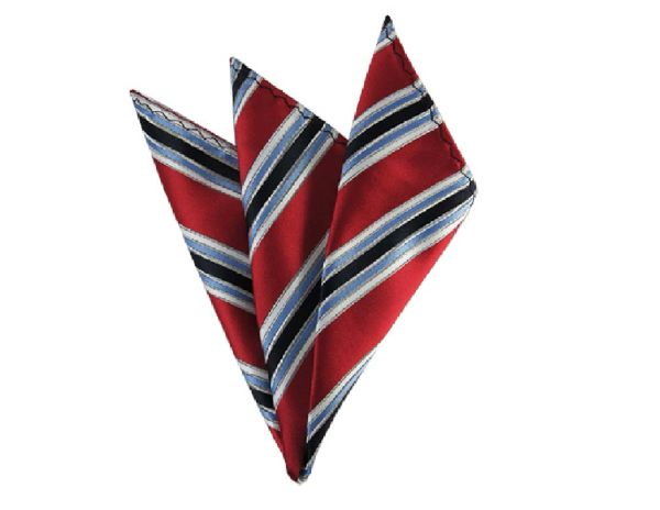 RED, STEEL BLUE AND NAVY BLUE MULTI-STRIPED MEN'S WOVEN HANDKERCHIEF