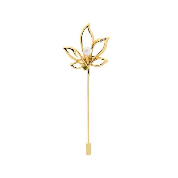 Gold Plated Leaves Pearl Pin