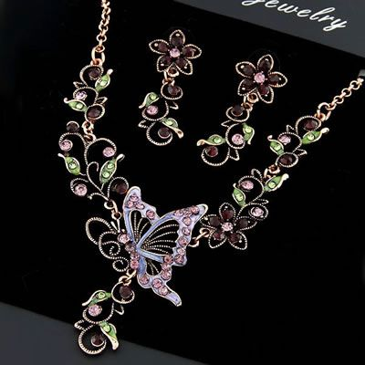 DL29255314 Vintage Style Floral Butterfly Necklace Set