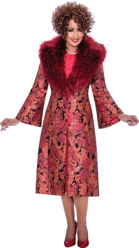 Dorinda Clark-Cole Festive Fur Collar Dress Suit