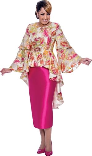 Dorinda Clerk-Cole Peplum 2pc Skirt Suit