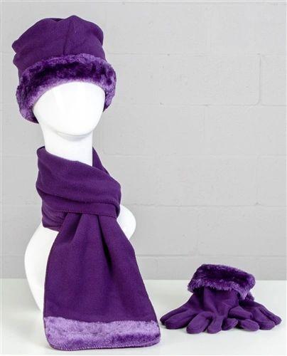Faux Fur Trim Fleece Scarf, Hat, & Gloves 3pc Set