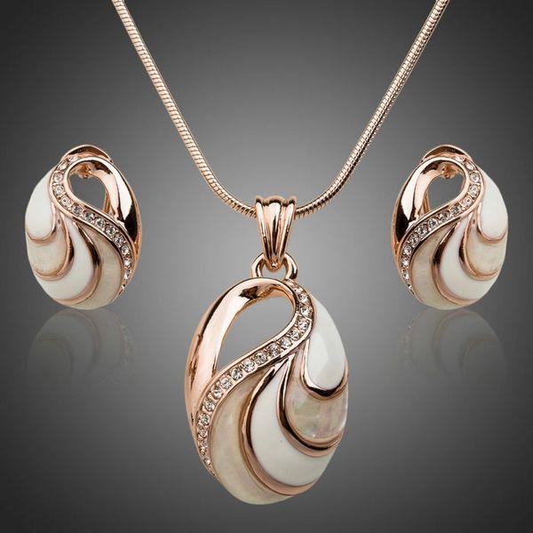 DL866025 Genuine Opal with Austrian White Rhinestone Accents