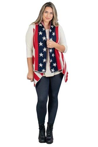 Flag Design Knit Vest Jacket