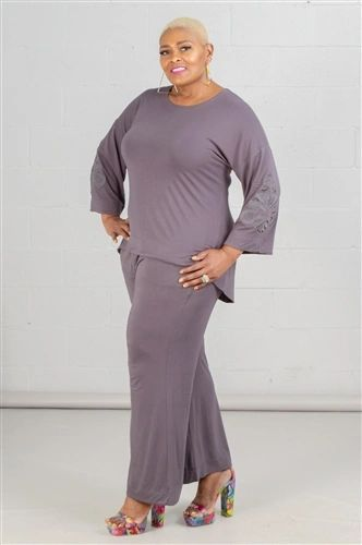 Plus Size. Soft & Cozy High-low Top Embroidered Sleeve 2pc Pant Set.