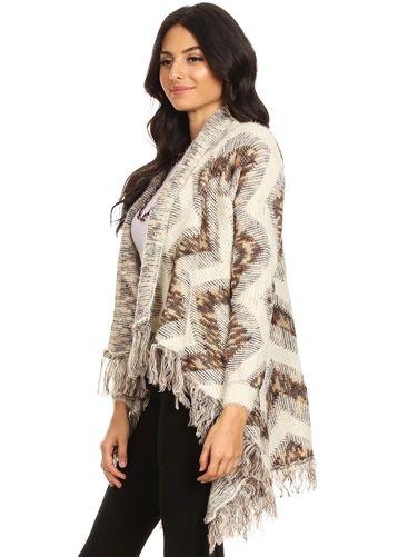 Tuscany Mixed Knit Aztec Print Cardigan