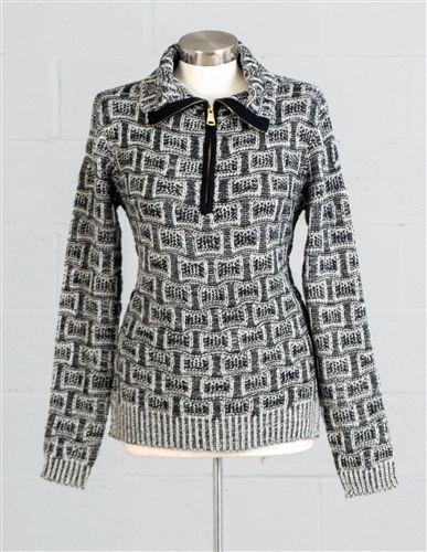 Fantazia Zipper Placket Knitted Sweater