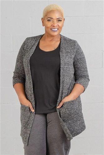 3/4 Sleeve Marled Yarn Sweater Cardigan