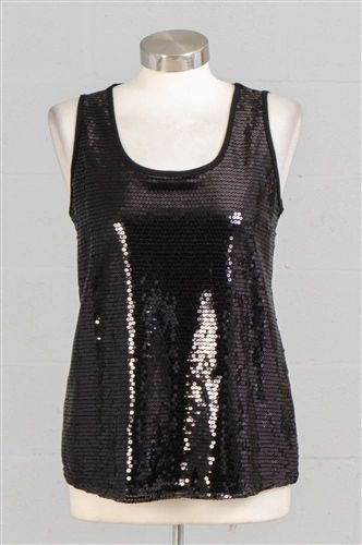 Sequin Front Stretch Knit Tank Top