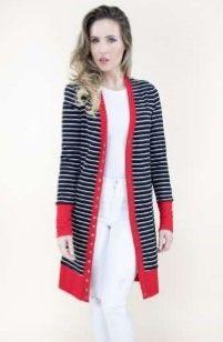 Button Front Stripe Cardigan