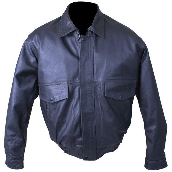 Solid Genuine Buffalo Leather Bomber Jacket