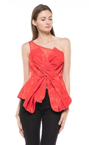 Why Dress One Shoulder Mesh Top