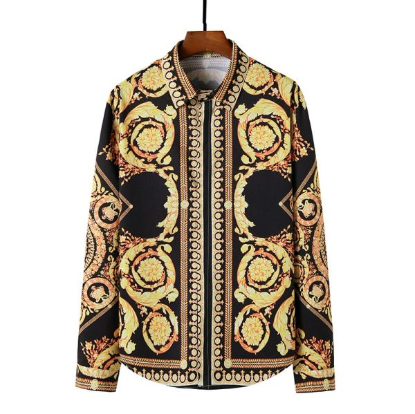 European Design Print Luxury Baroque Style Button Down Long Sleeve Shirt