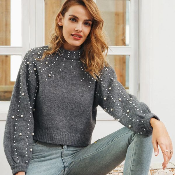 Cashmere Sweater with Pearl Embellishments