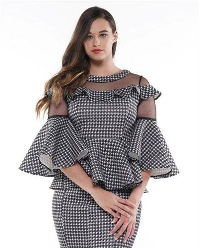 Why Dress Houndstooth Ruffle Sleeve Peplum Top