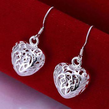 DL532099 .925 Sterling Silver Hollow Heart Earrings