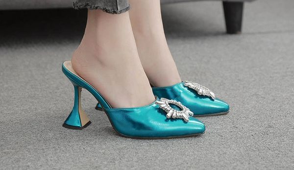 Crystal MedallionPointed Toe Mule Pump