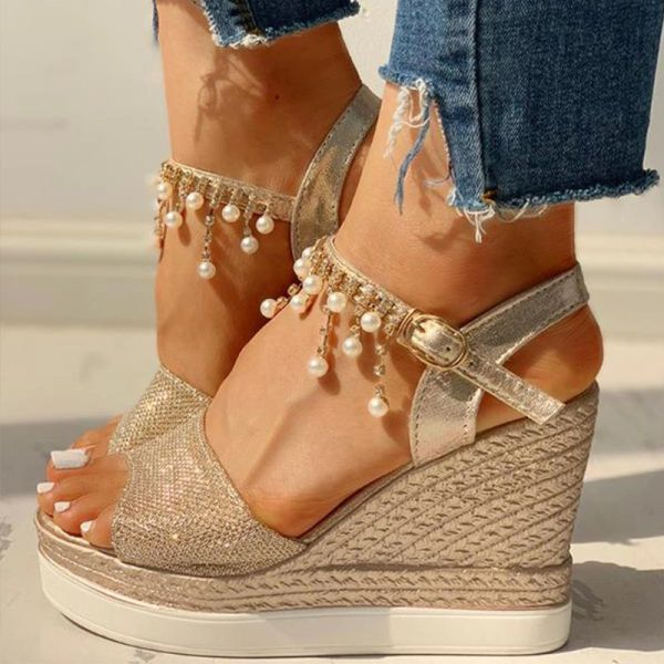 Wedge Rope Design Shimmer Rhinestones & Pearl Sandals Shoes