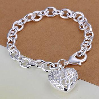 DL532178 .925 Sterling Silver Chunky Chain Heart Pendant Bracelet