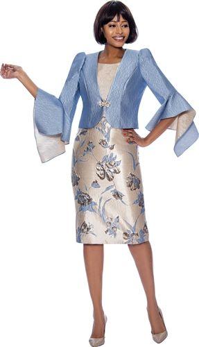 Terramina Jacket Dress Floral Pattern Embellished Suit