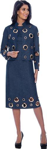 Devine Denim Grommet 2pc Dress Suit