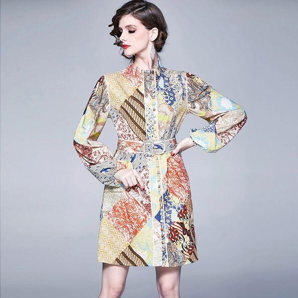 Vintage Design Belted Dress