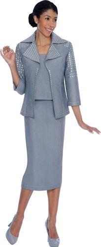 Studded Designer Denim 3pc Suit