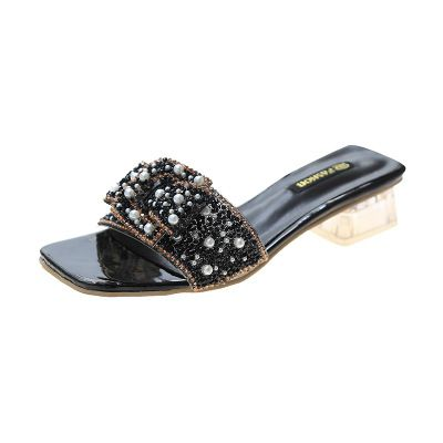 Beaded Pearl Accent Slipper Shoes
